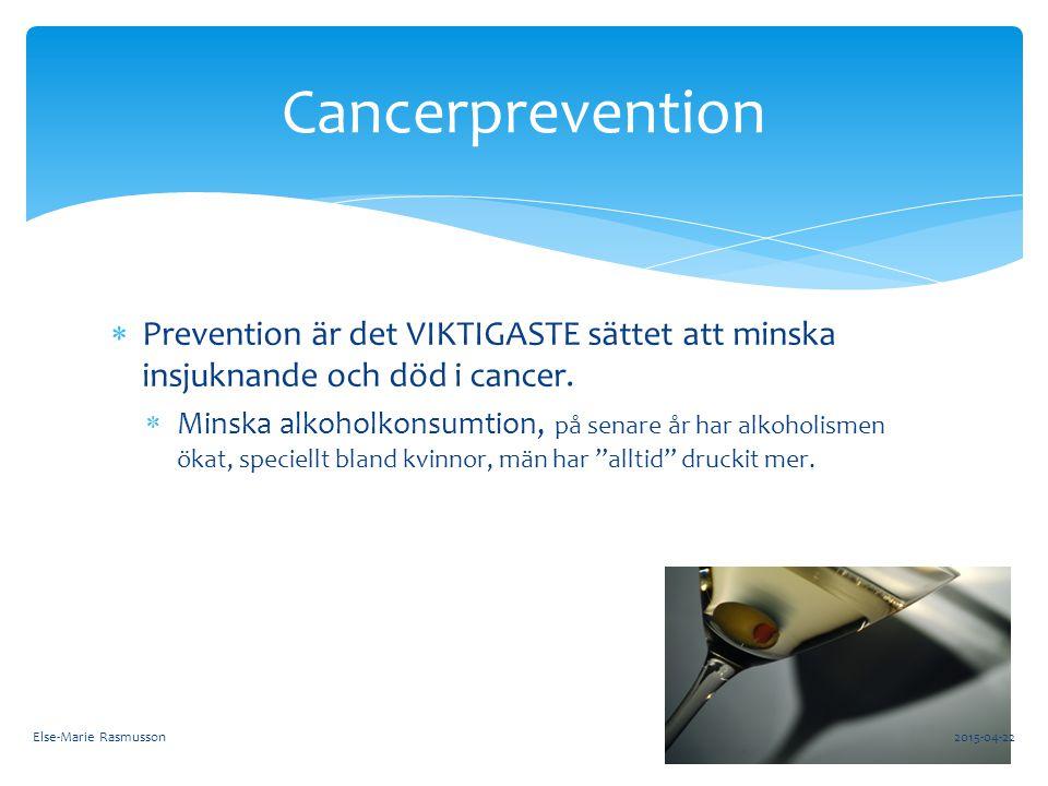 Cancerprevention Prevention är det VIKTIGASTE sättet att minska insjuknande och död i cancer.