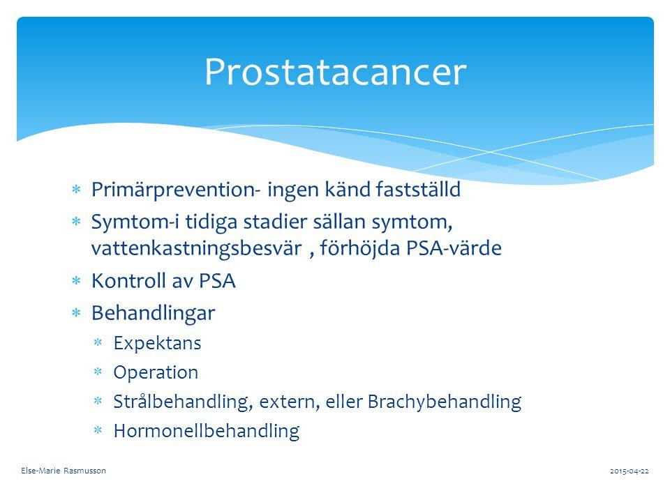 Prostatacancer Primärprevention- ingen känd fastställd