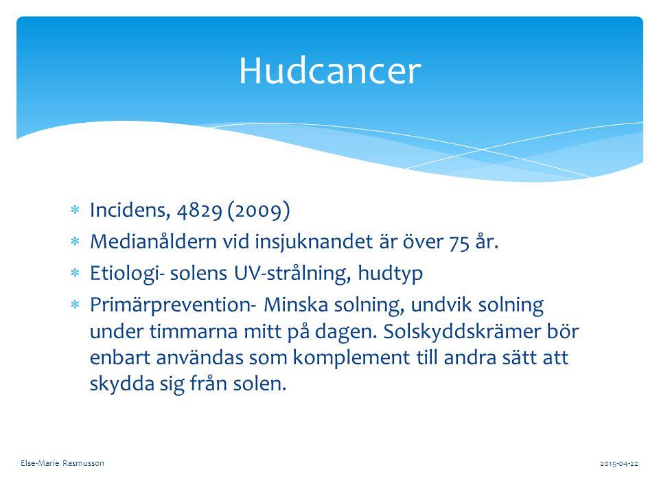Hudcancer Incidens, 4829 (2009) Medianåldern vid insjuknandet är över 75 år. Etiologi- solens UV-strålning, hudtyp.