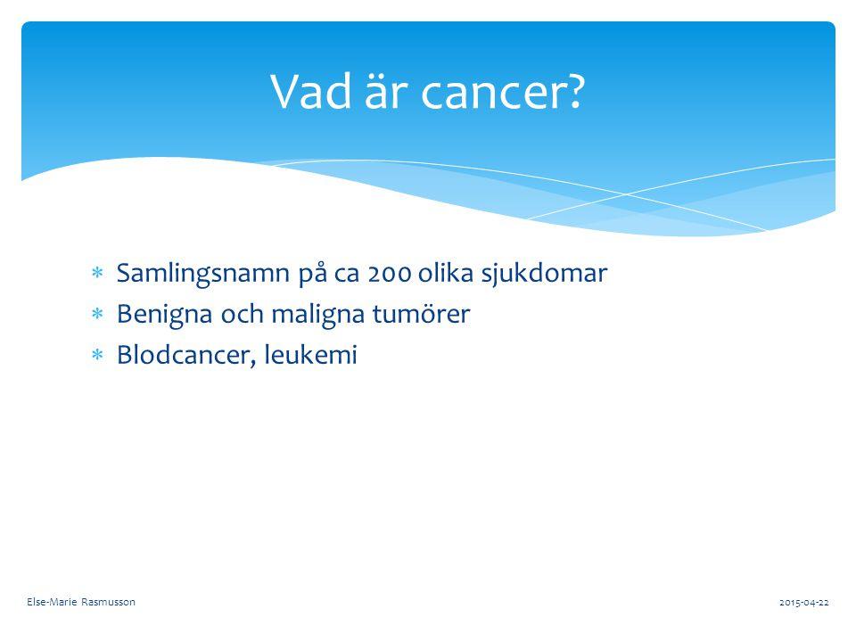 Vad är cancer Samlingsnamn på ca 200 olika sjukdomar