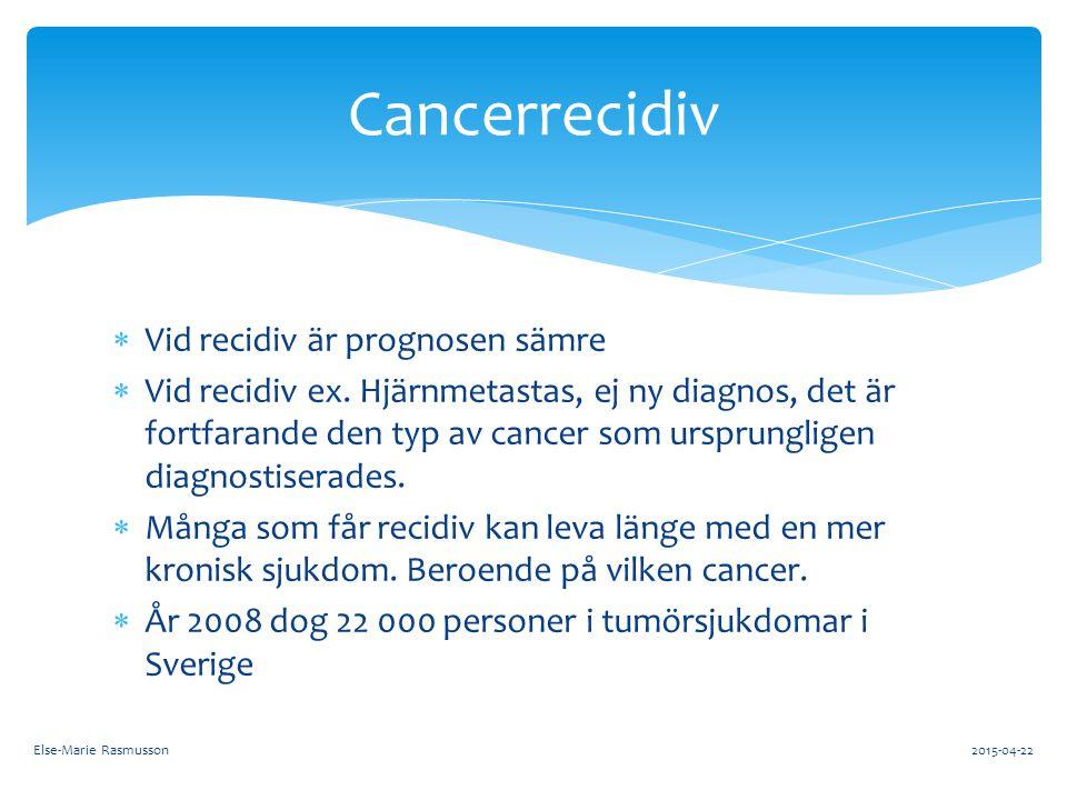 Cancerrecidiv Vid recidiv är prognosen sämre