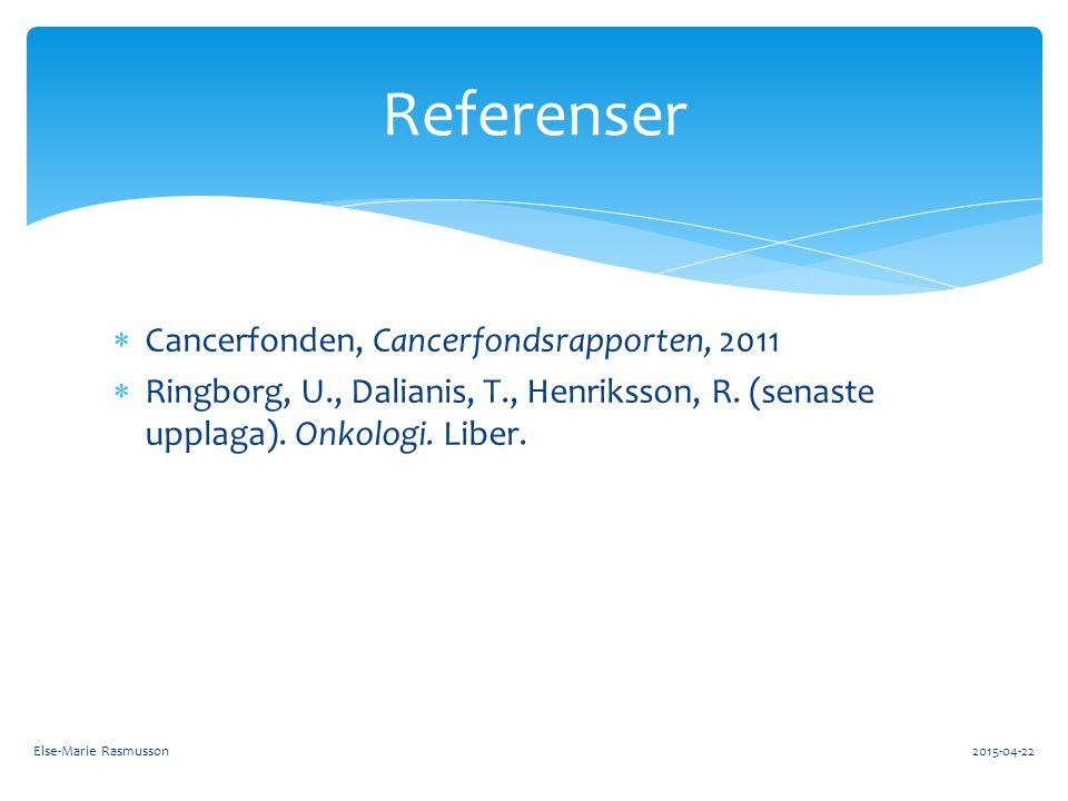 Referenser Cancerfonden, Cancerfondsrapporten, 2011