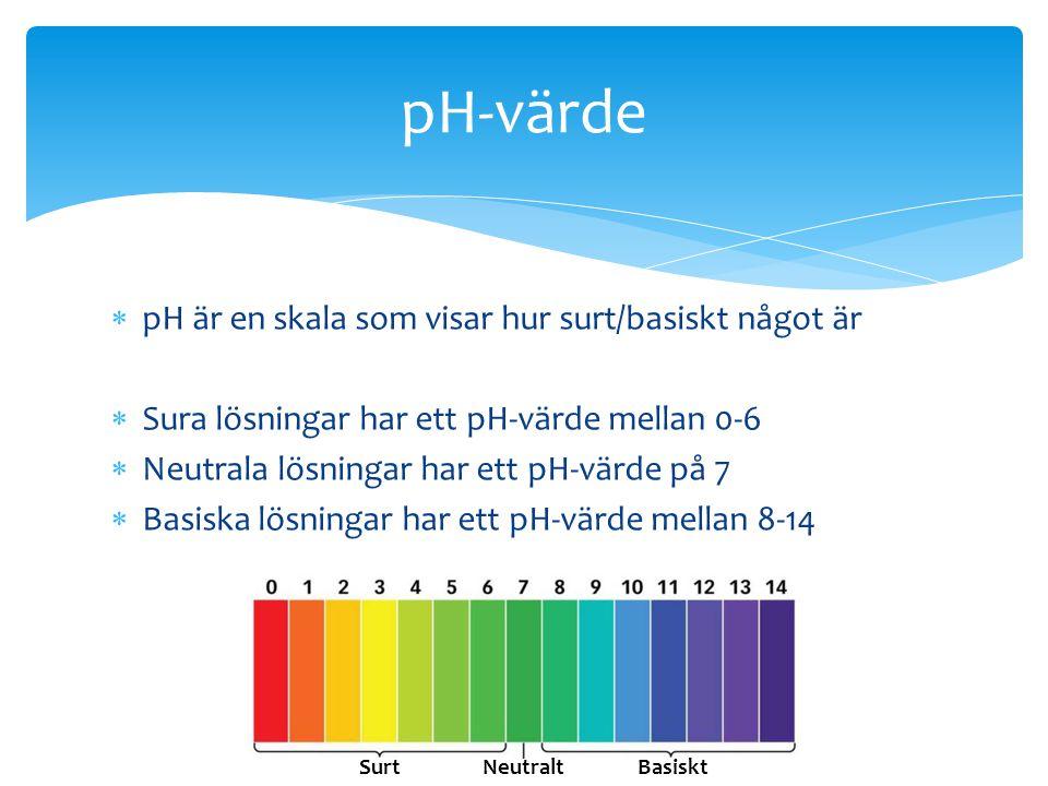 pH-värde pH är en skala som visar hur surt/basiskt något är