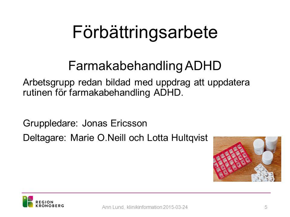 Förbättringsarbete Farmakabehandling ADHD
