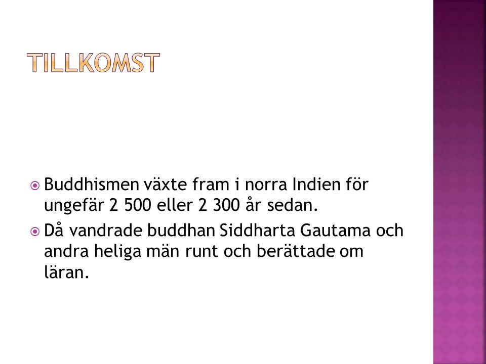 Tillkomst Buddhismen växte fram i norra Indien för ungefär 2 500 eller 2 300 år sedan.