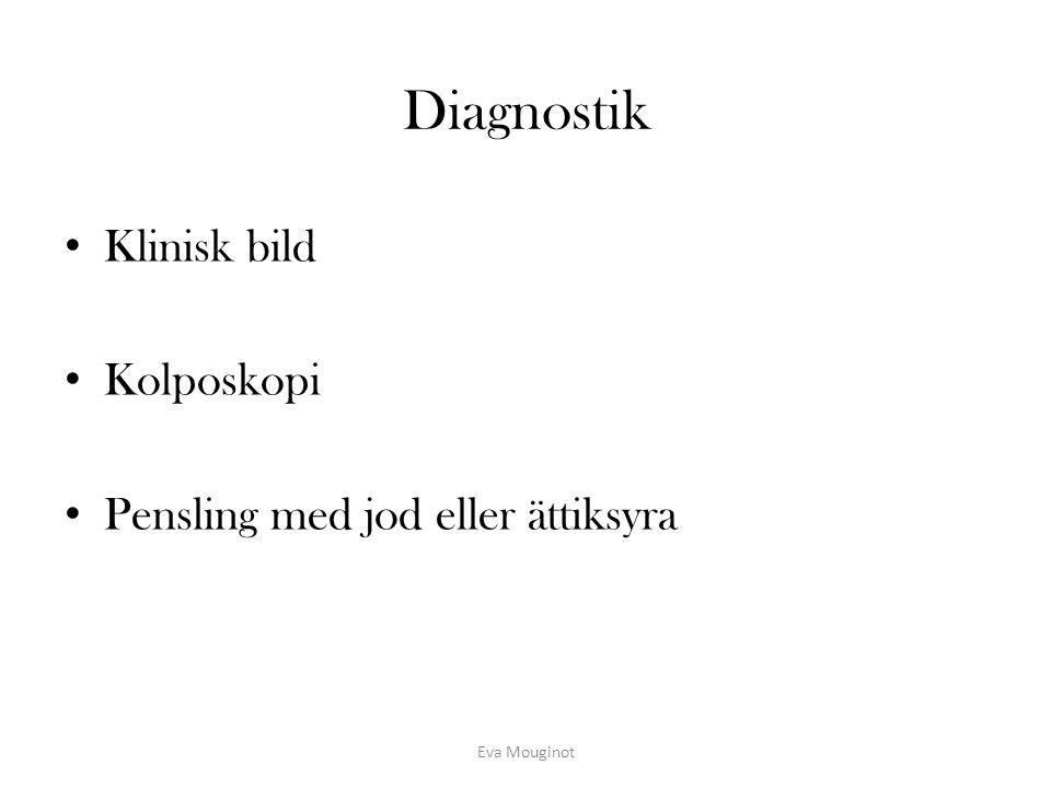 Diagnostik Klinisk bild Kolposkopi Pensling med jod eller ättiksyra
