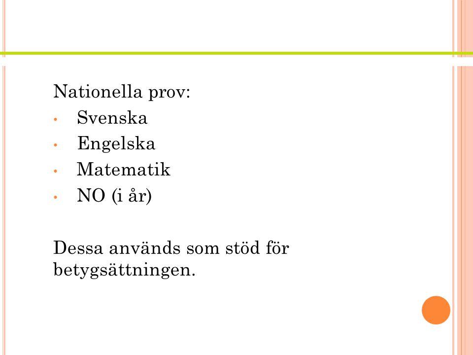 Nationella prov Nationella prov: Svenska Engelska Matematik NO (i år)