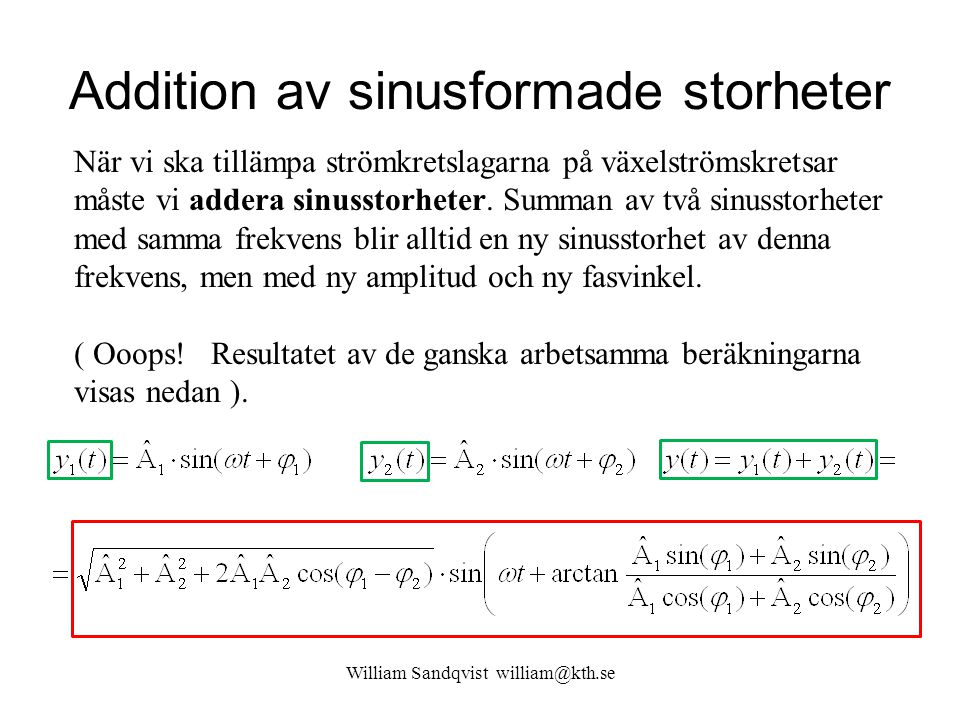 Addition av sinusformade storheter
