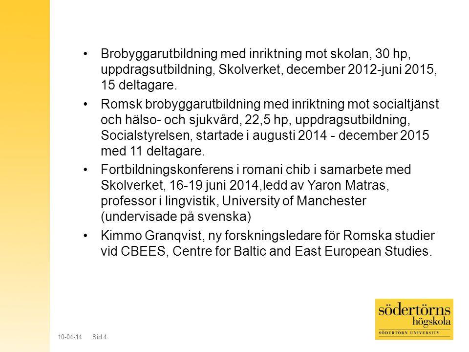 Brobyggarutbildning med inriktning mot skolan, 30 hp, uppdragsutbildning, Skolverket, december 2012-juni 2015, 15 deltagare.
