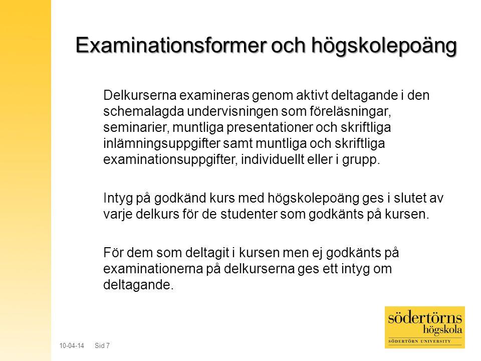 Examinationsformer och högskolepoäng