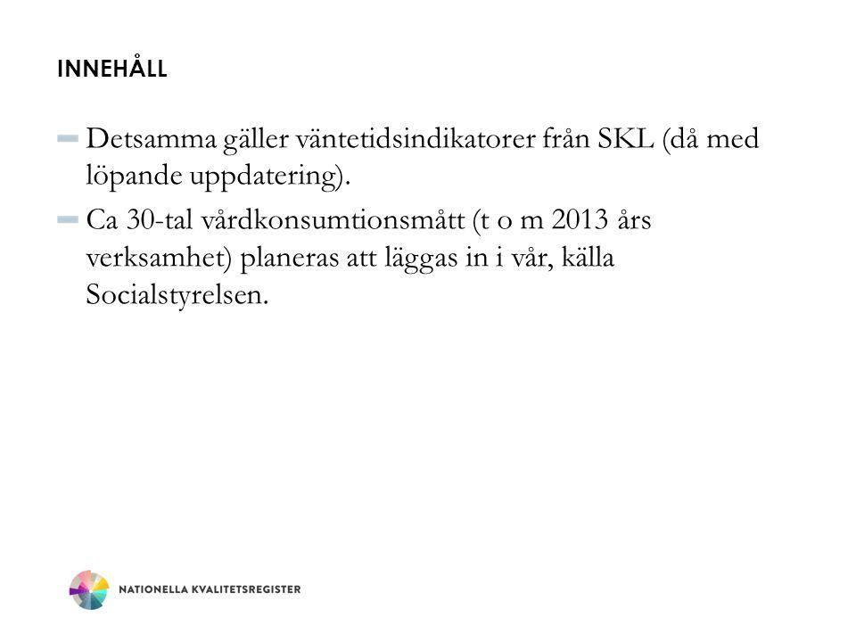 Innehåll Detsamma gäller väntetidsindikatorer från SKL (då med löpande uppdatering).