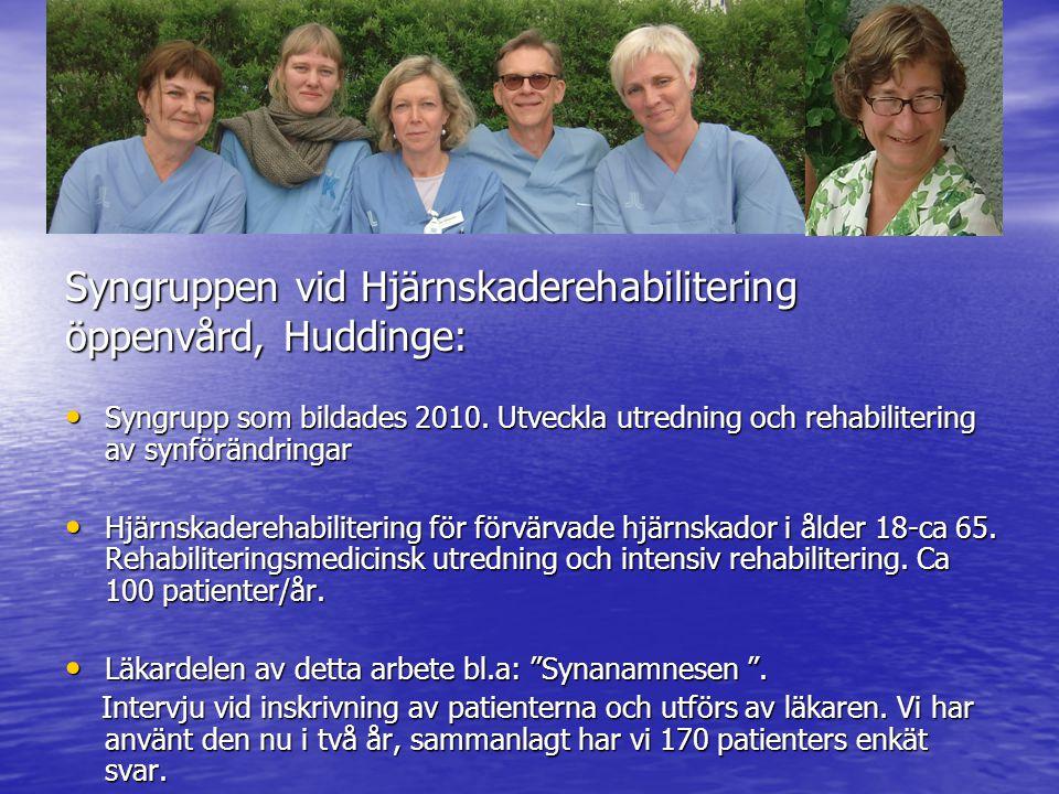 Syngruppen vid Hjärnskaderehabilitering öppenvård, Huddinge: