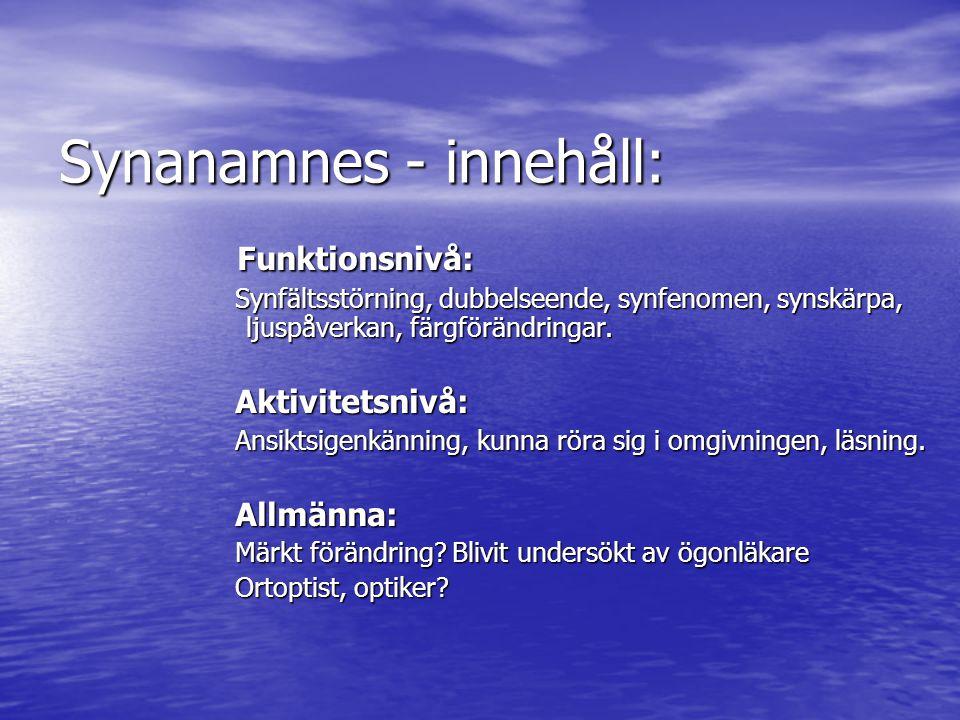 Synanamnes - innehåll: