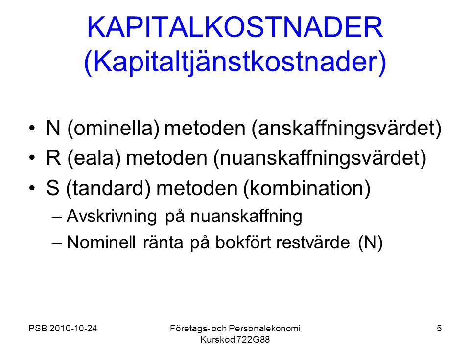 KAPITALKOSTNADER (Kapitaltjänstkostnader)