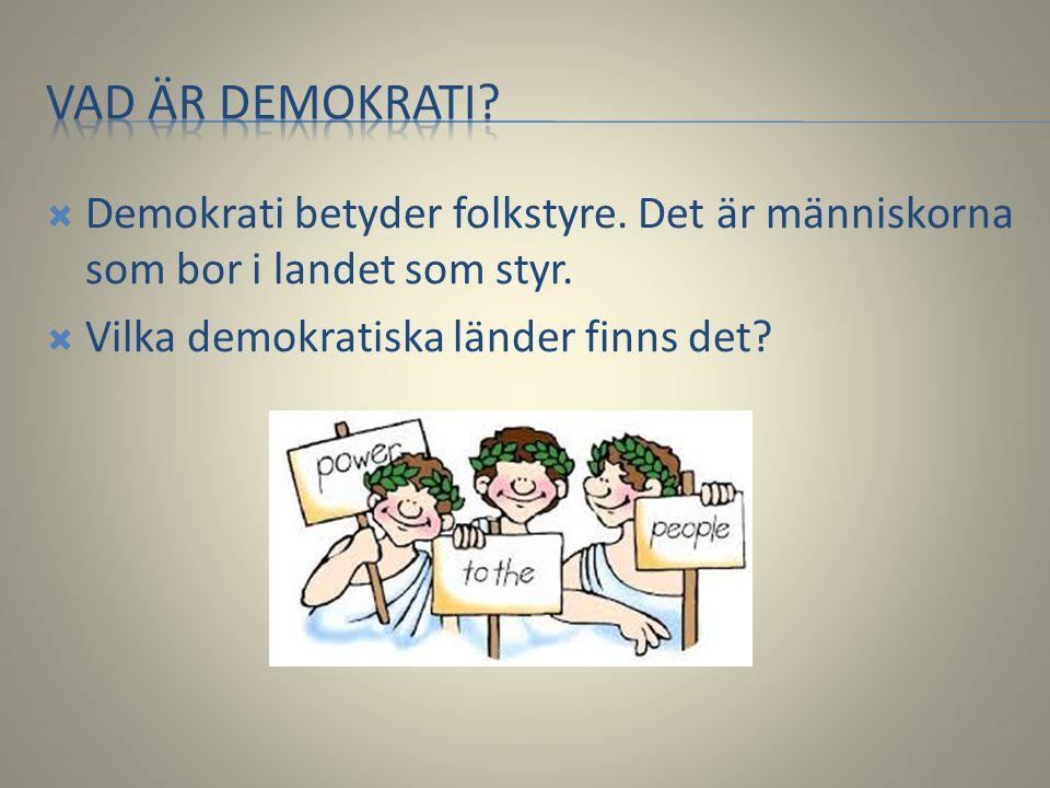 Vad är demokrati. Demokrati betyder folkstyre. Det är människorna som bor i landet som styr.