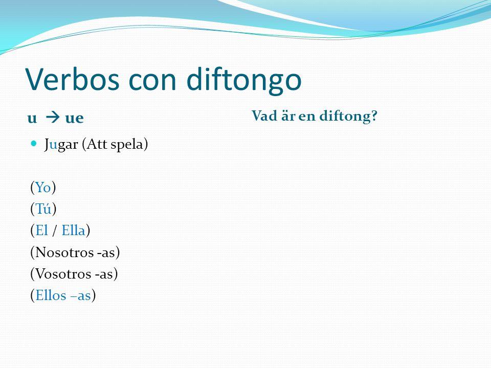 Verbos con diftongo u  ue Vad är en diftong Jugar (Att spela) (Yo)