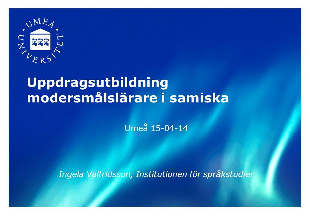 Uppdragsutbildning modersmålslärare i samiska