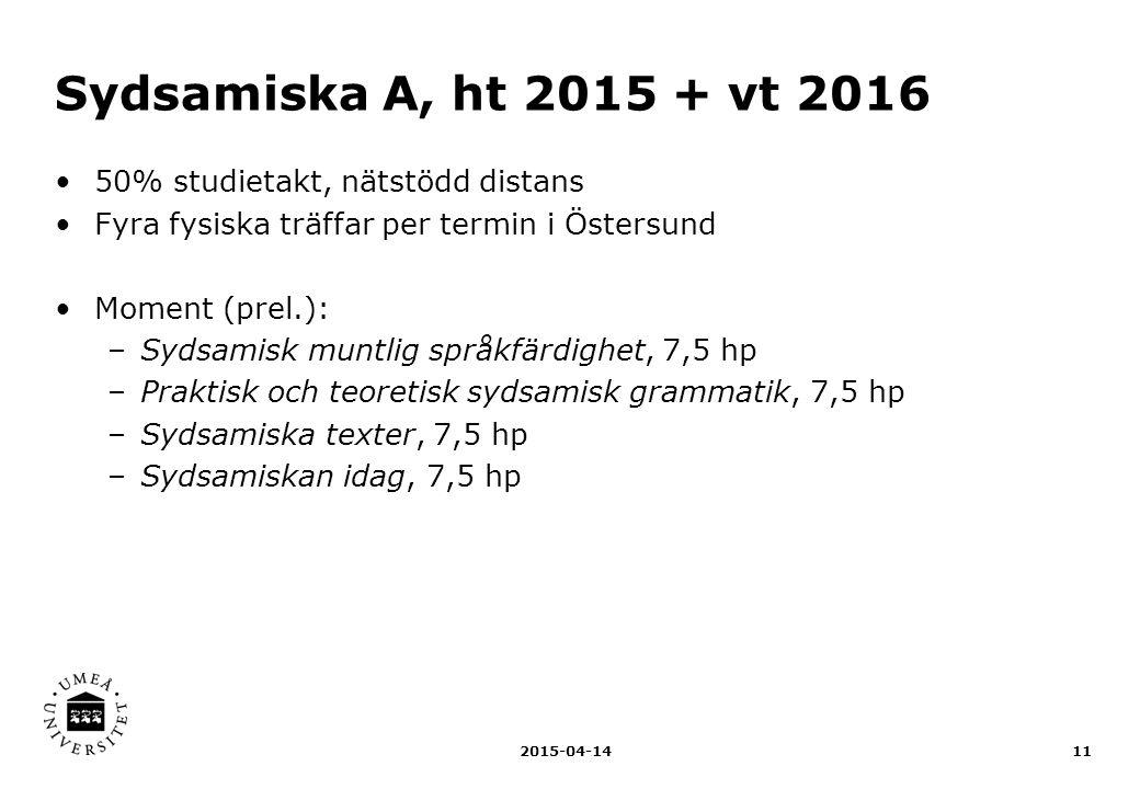 Sydsamiska A, ht 2015 + vt 2016 50% studietakt, nätstödd distans