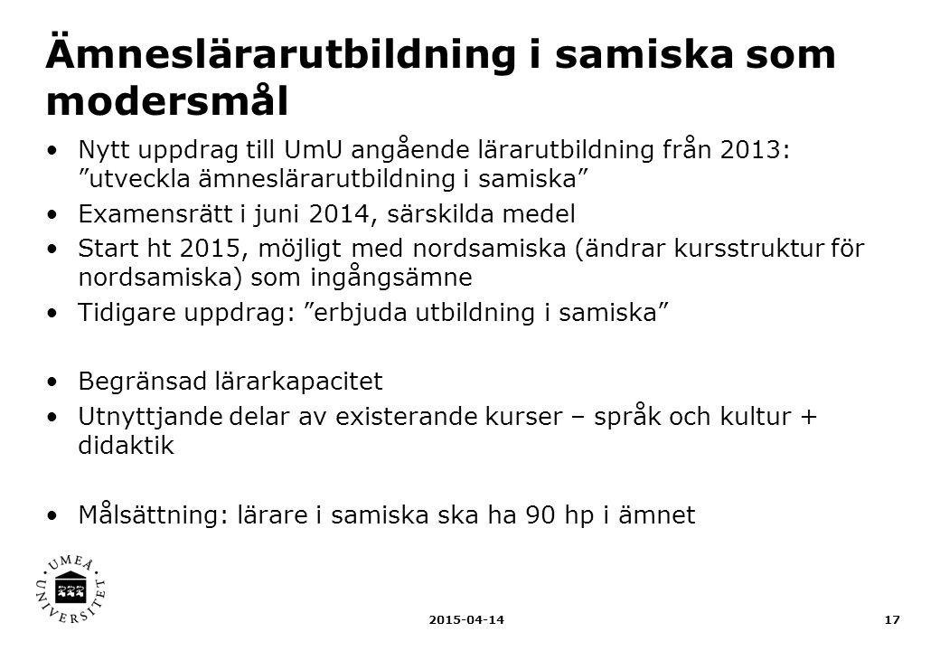 Ämneslärarutbildning i samiska som modersmål