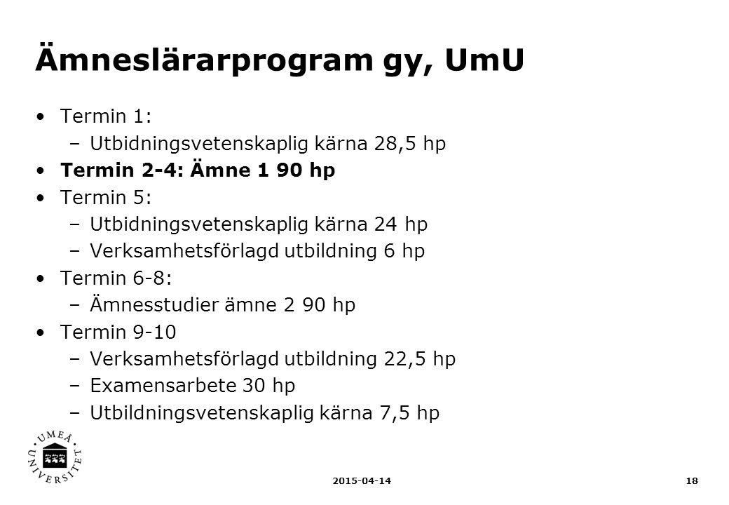 Ämneslärarprogram gy, UmU