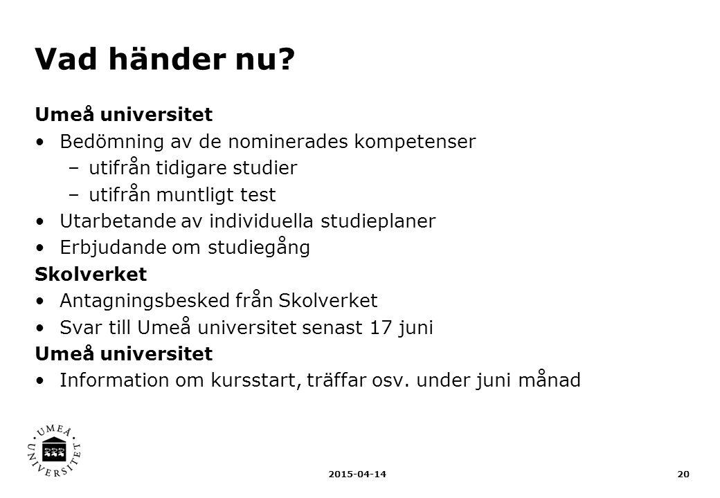 Vad händer nu Umeå universitet