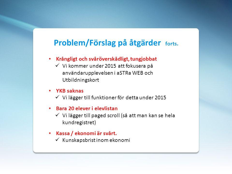 Problem/Förslag på åtgärder forts.