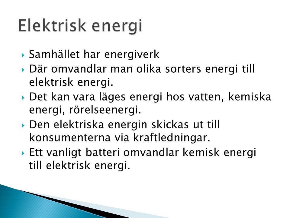 Elektrisk energi Samhället har energiverk