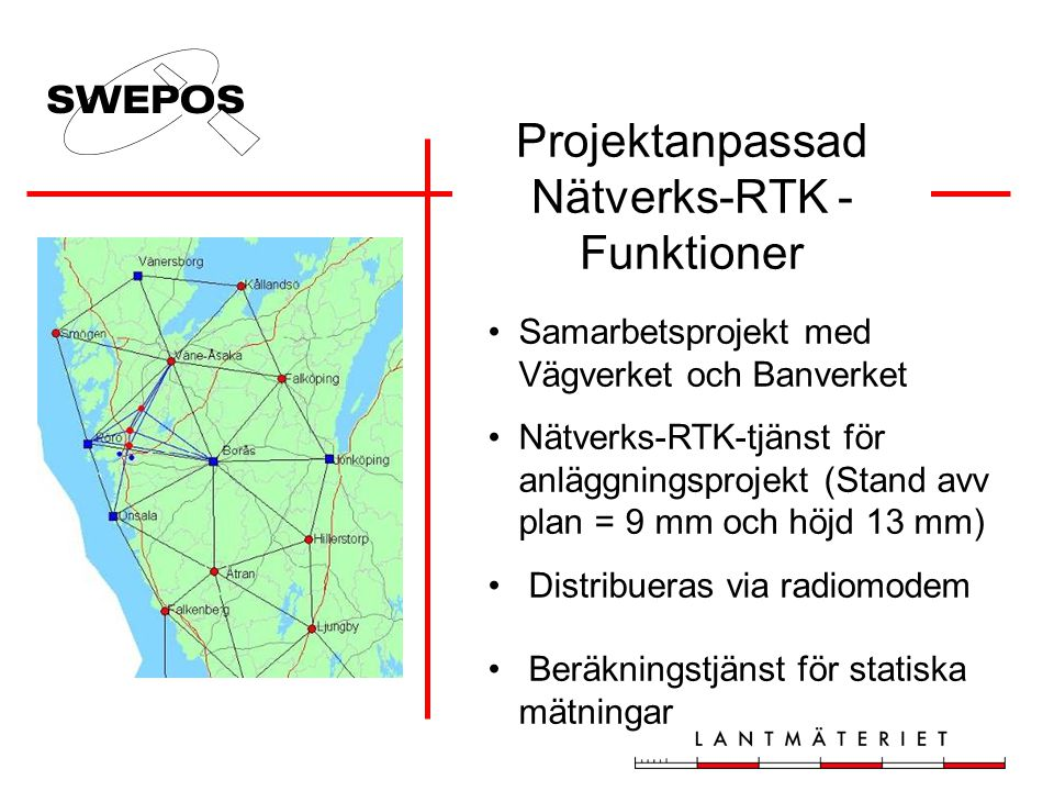 Projektanpassad Nätverks-RTK -Funktioner