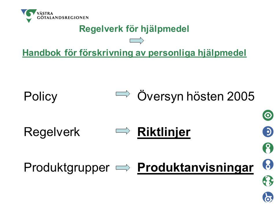 Policy Regelverk Produktgrupper Översyn hösten 2005 Riktlinjer