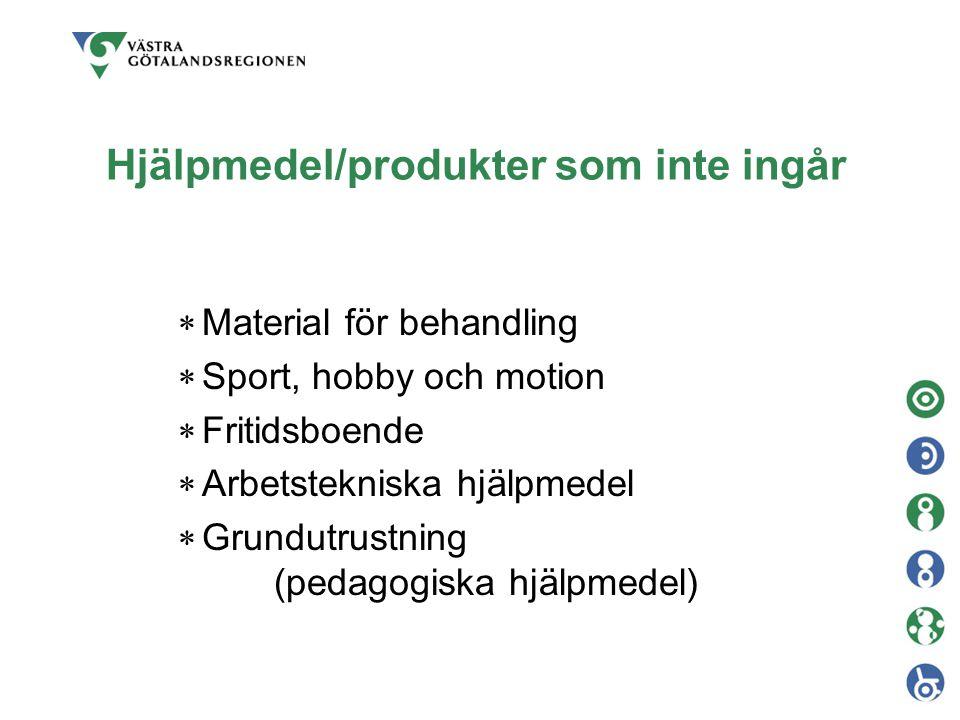 Hjälpmedel/produkter som inte ingår