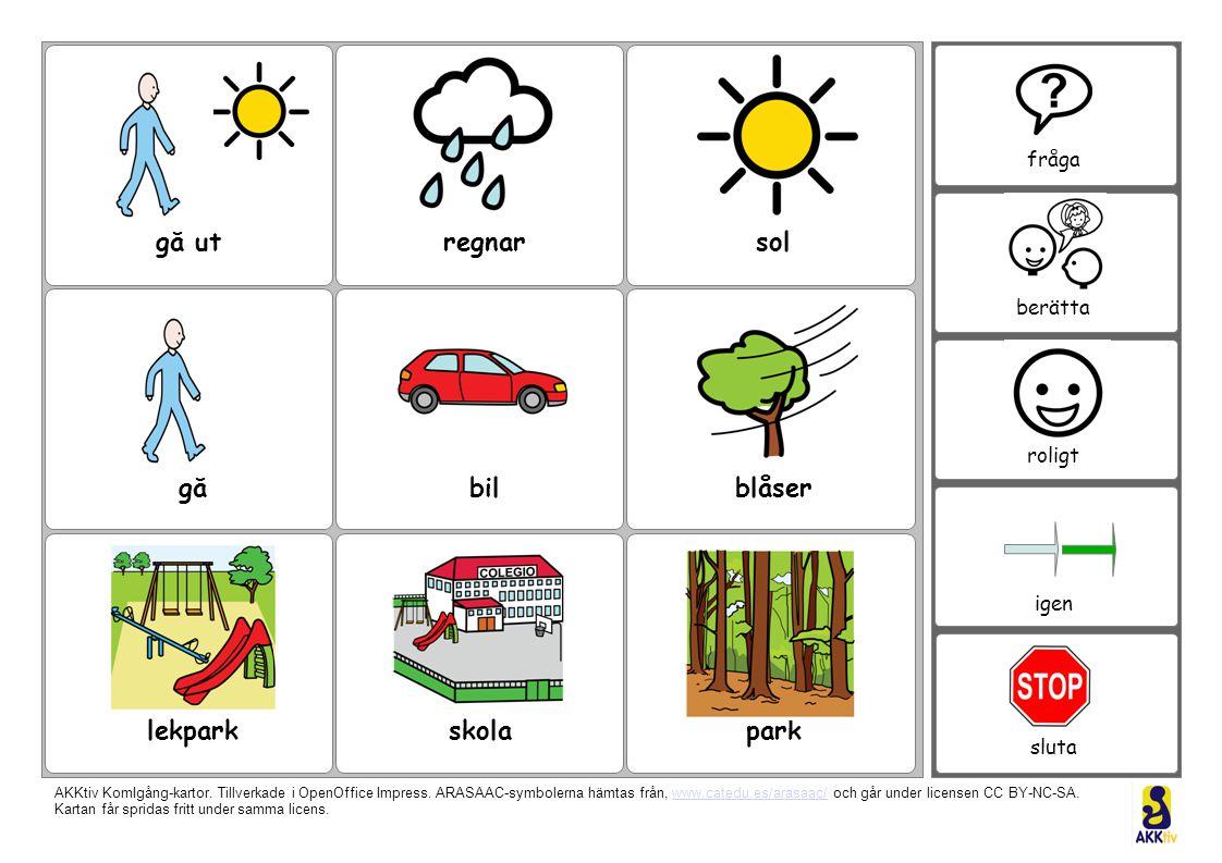 gå ut regnar sol gå bil blåser lekpark skola park