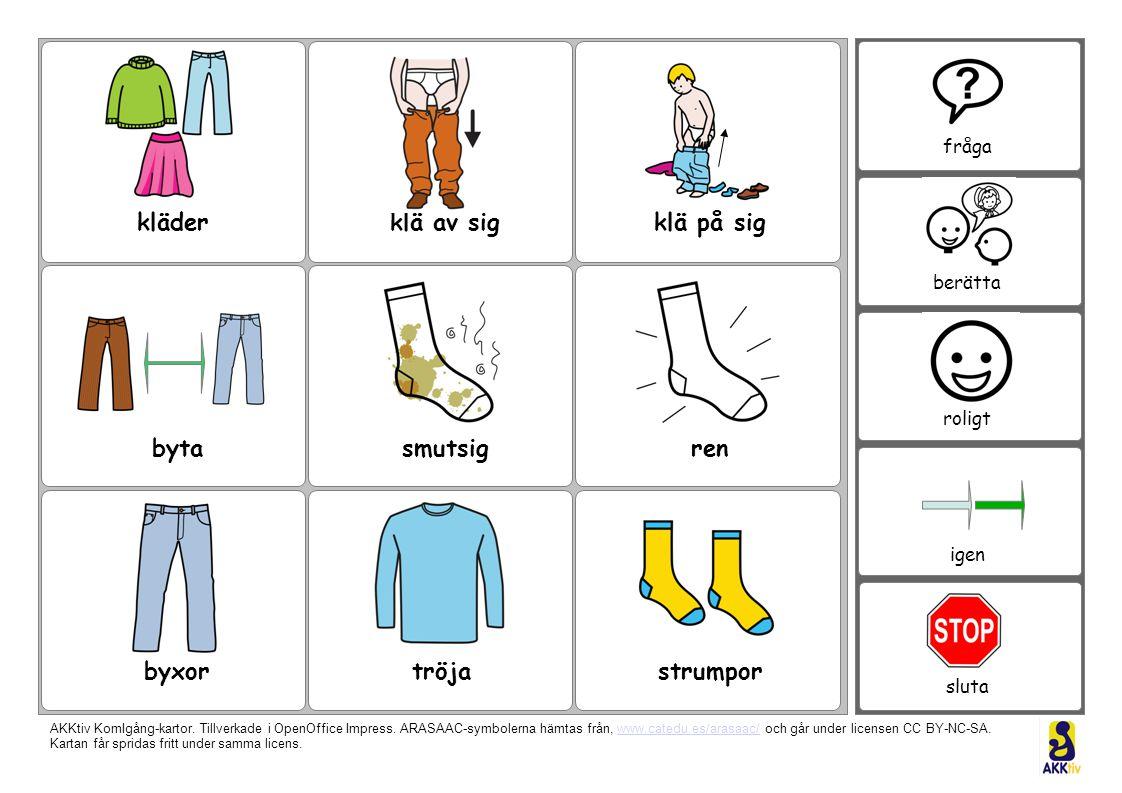 kläder klä av sig klä på sig byta smutsig ren byxor tröja strumpor