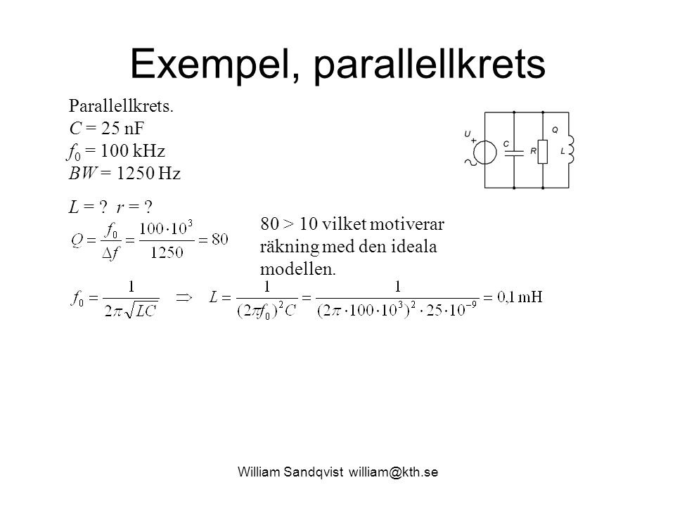 Exempel, parallellkrets