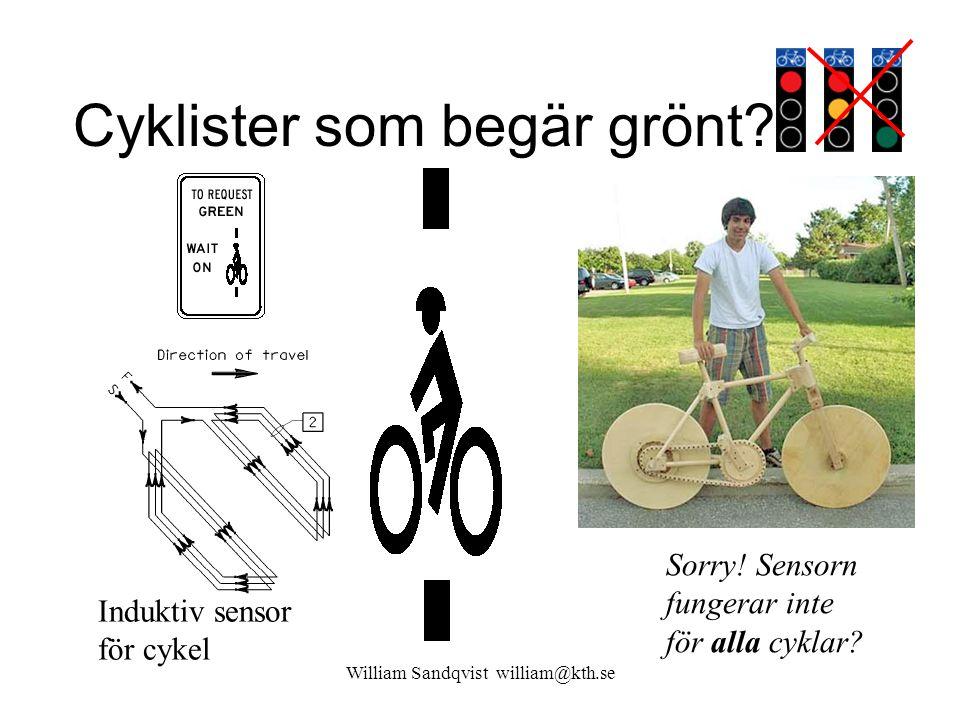 Cyklister som begär grönt