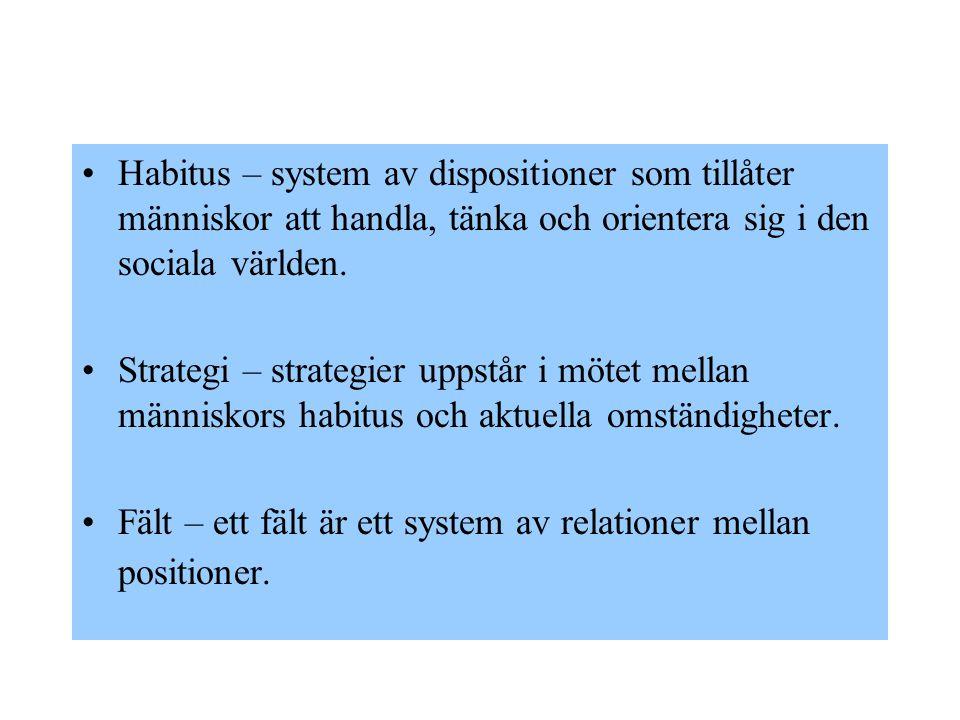 Habitus – system av dispositioner som tillåter människor att handla, tänka och orientera sig i den sociala världen.