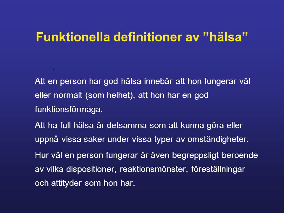Funktionella definitioner av hälsa