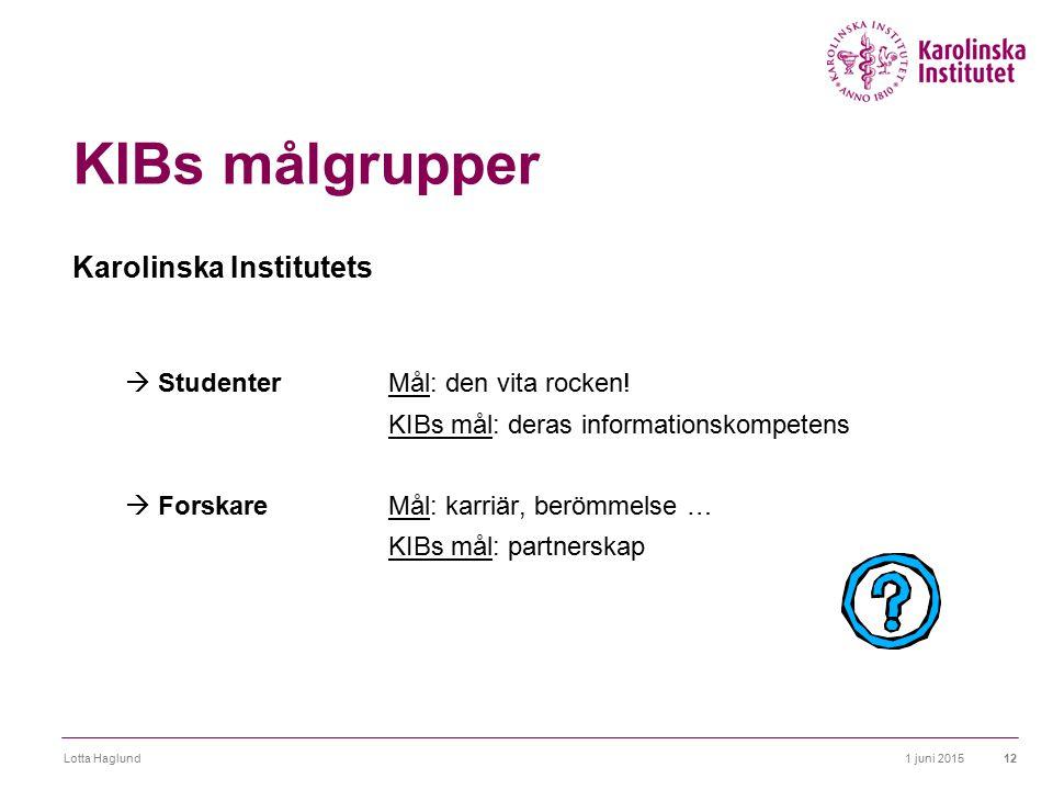 KIBs målgrupper Karolinska Institutets