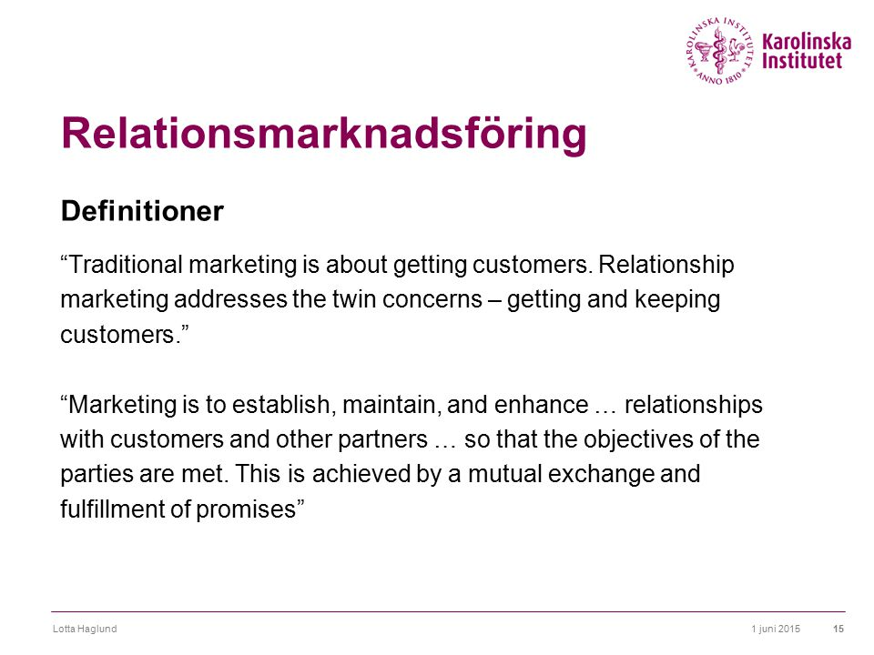 Relationsmarknadsföring Definitioner