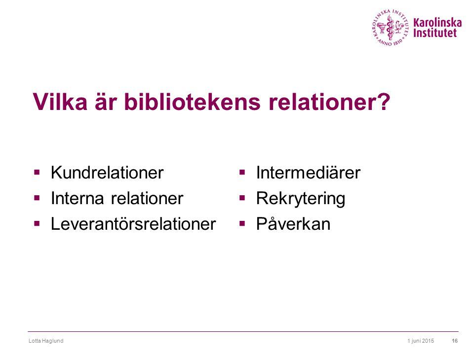 Vilka är bibliotekens relationer