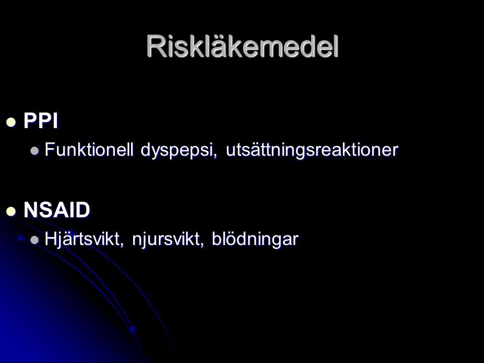 Riskläkemedel PPI NSAID Funktionell dyspepsi, utsättningsreaktioner