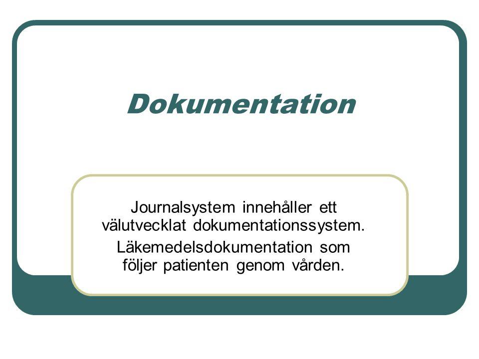 Dokumentation Journalsystem innehåller ett välutvecklat dokumentationssystem.