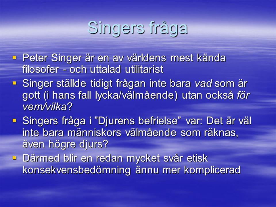 Singers fråga Peter Singer är en av världens mest kända filosofer - och uttalad utilitarist.