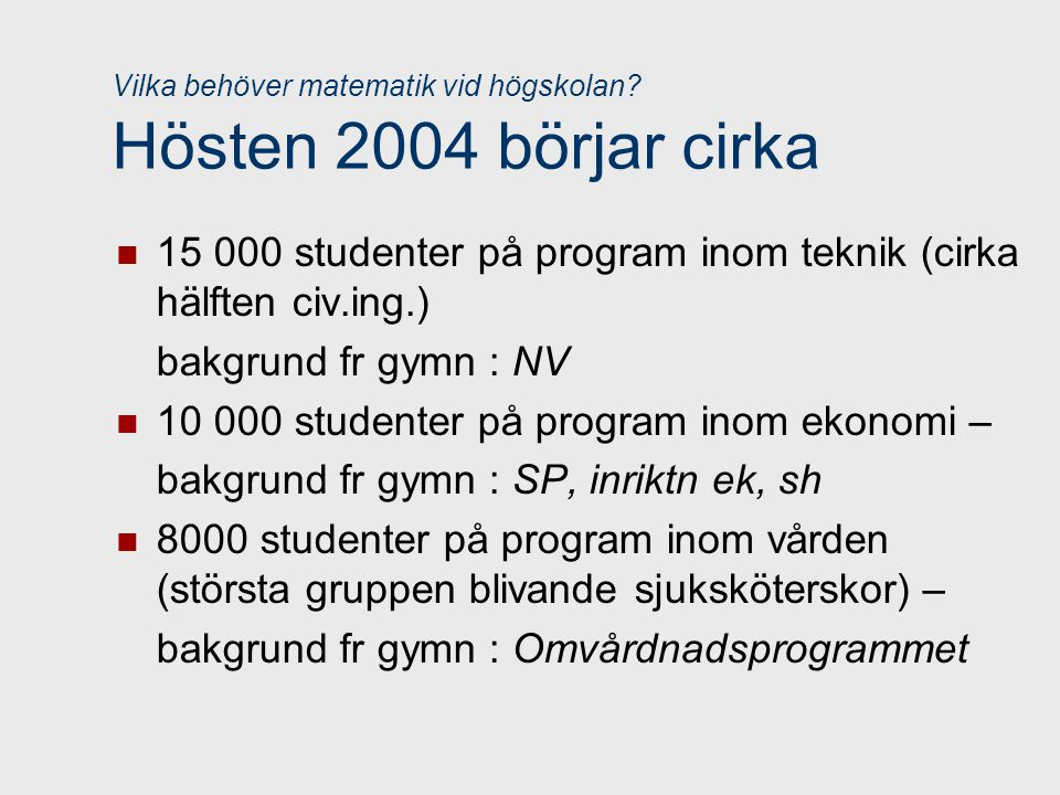 Vilka behöver matematik vid högskolan Hösten 2004 börjar cirka