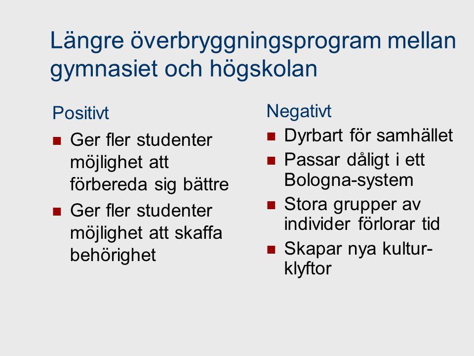 Längre överbryggningsprogram mellan gymnasiet och högskolan