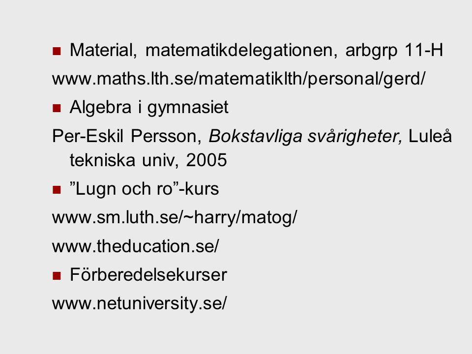 Material, matematikdelegationen, arbgrp 11-H