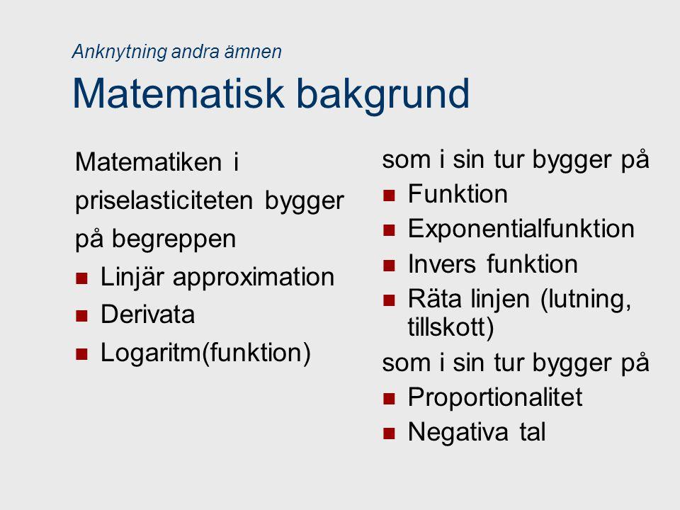 Anknytning andra ämnen Matematisk bakgrund