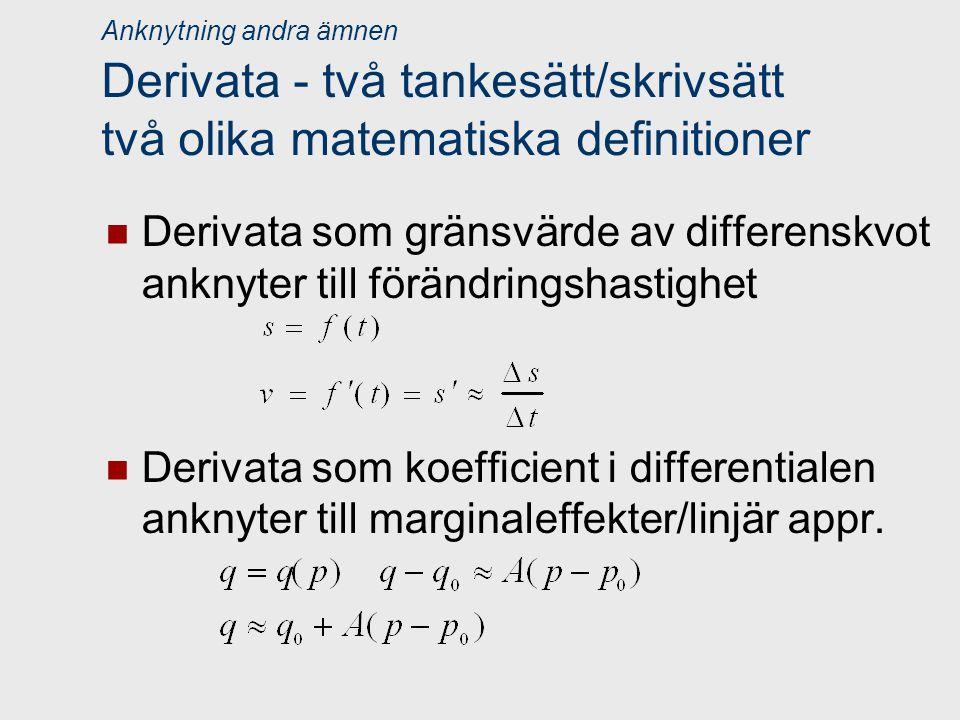 Anknytning andra ämnen Derivata - två tankesätt/skrivsätt två olika matematiska definitioner