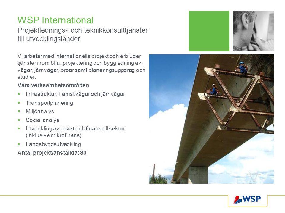 WSP International Projektlednings- och teknikkonsulttjänster till utvecklingsländer