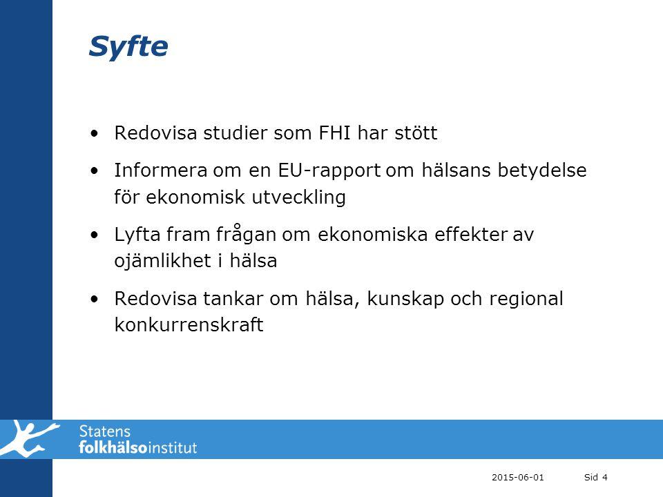 Syfte Redovisa studier som FHI har stött