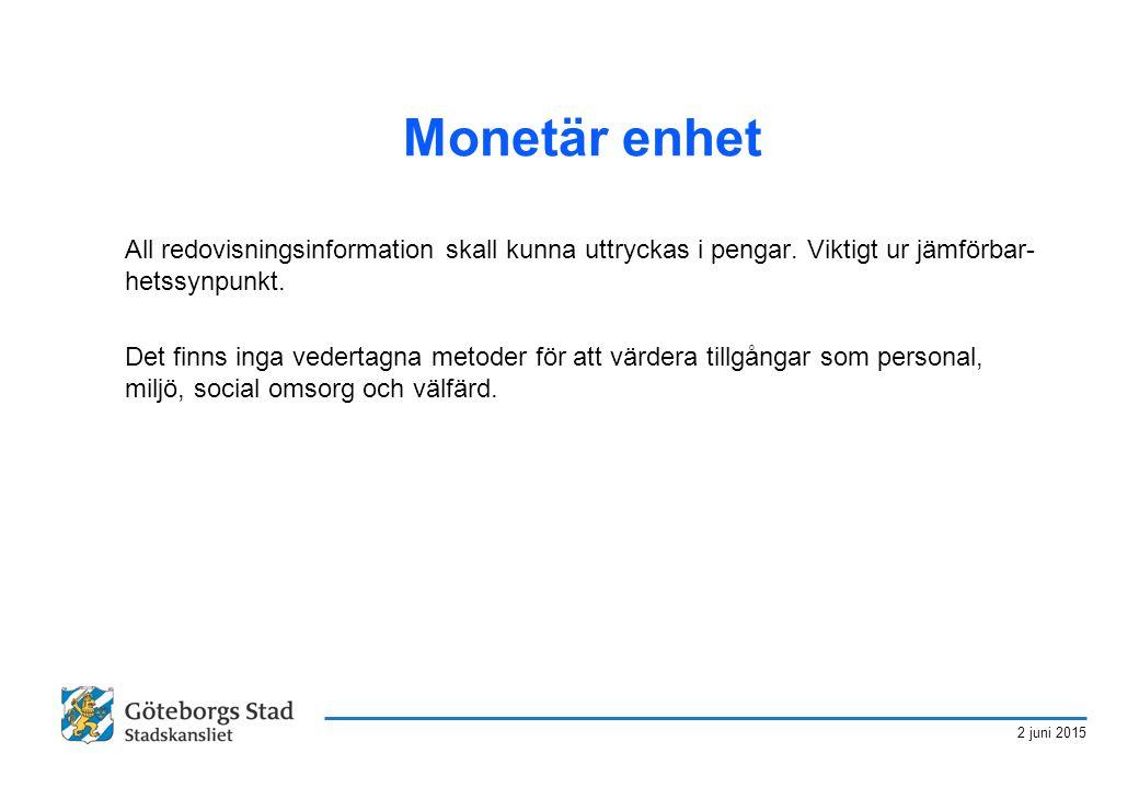 Monetär enhet All redovisningsinformation skall kunna uttryckas i pengar. Viktigt ur jämförbar-hetssynpunkt.
